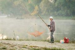 Fishermen in the lake. Novi Sad, Srbija - Oktober 17, 2017: fishermen in the lake royalty free stock photo