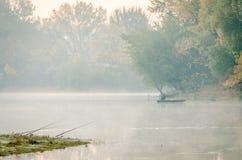 Fishermen in the lake. Novi Sad, Srbija - Oktober 17, 2017: fishermen in the lake stock photos