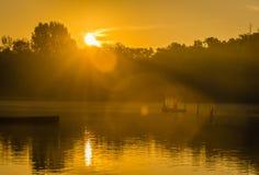 Fishermen in the lake. Novi Sad, Srbija - Oktober 17, 2016: fishermen in the lake royalty free stock photos
