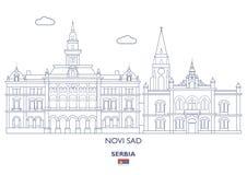 Novi Sad stadshorisont, Serbien Royaltyfri Foto