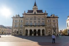 City Hall at the center of the City of Novi Sad, Vojvodina, Serbia. NOVI SAD, VOJVODINA, SERBIA - NOVEMBER 11, 2018: City Hall at the center of the City of Novi stock photography