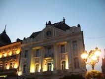 Novi Sad, Vrijheids vierkante, Centrale straat, de Zomeravond, Zonsondergang stock fotografie