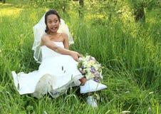Novia asustada en la boda Imagen de archivo libre de regalías