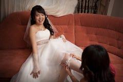 Novia bastante asiática Foto de archivo libre de regalías