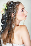 Novia con el pelo largo y los ojos verdes Imagen de archivo