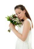Novia con el ramo de la boda Imagenes de archivo