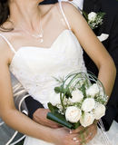 Novia con el ramo de la boda fotos de archivo