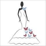Novia con la mariposa Imágenes de archivo libres de regalías