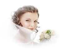 Novia con un ramo de flores Imagenes de archivo