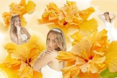 Novia del collage en un fondo del hibisco amarillo Foto de archivo libre de regalías