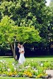 Novia elegante y novio que presentan junto al aire libre en un día de boda Foto de archivo libre de regalías