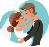 Novia embarazada que besa al novio Vector Cartoon Fotografía de archivo libre de regalías