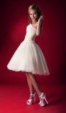 Novia en la alineada de boda blanca Fotos de archivo libres de regalías