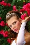 Novia en las rosas rojas Fotos de archivo libres de regalías
