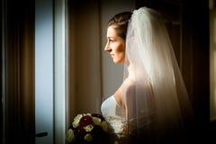 Novia en su día de boda Imágenes de archivo libres de regalías