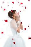 novia en suelo entre los pétalos color de rosa rojos Foto de archivo libre de regalías