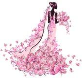 Novia en vestido de flores con la mariposa Imagen de archivo libre de regalías