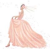 Novia en vestido rosado Foto de archivo