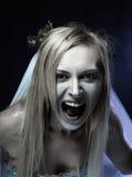 Novia enojada del cadáver del zombi Fotos de archivo libres de regalías