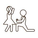 Novia feliz de la propuesta de matrimonio del pictograma Foto de archivo libre de regalías