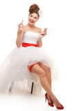 Novia feliz del perno-para arriba Foto de archivo libre de regalías