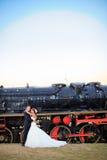 Novia y novio felices de la boda Imagen de archivo libre de regalías