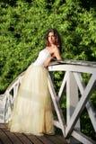 Novia hermosa en el puente de madera Foto de archivo