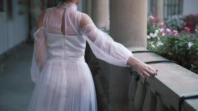 Novia hermosa en vestido elegante, de lujo y el peinado de marfil del updo, presentando cerca de columna almacen de video