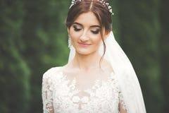 Novia hermosa que presenta en vestido de boda al aire libre Foto de archivo libre de regalías