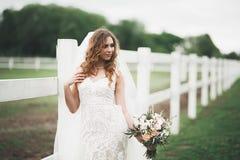 Novia hermosa que presenta en vestido de boda al aire libre Fotografía de archivo