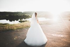Novia hermosa que presenta en vestido de boda al aire libre Imagen de archivo