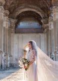 Novia hermosa romántica en la presentación de lujo del vestido de la arquitectura hermosa Imagen de archivo