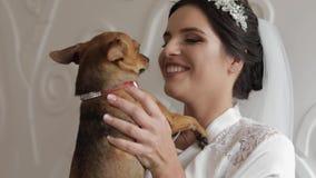 Novia hermosa y preciosa en vestido de la noche y velo con el perro divertido boda almacen de video