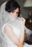 Novia morena relajada atractiva que oculta detrás de velo cerca de la ventana blanca Fotografía de archivo