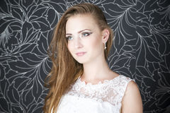 Novia profesional del peinado del maquillaje foto de archivo