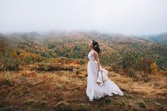 Novia que presenta en paisaje de la alta montaña Imagen de archivo libre de regalías