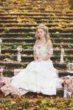 Novia rústica del estilo que se sienta en los pasos de piedra en el bosque soleado del otoño, rodeado casandose la decoración Imagenes de archivo