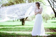 Novia rubia en el vestido de boda blanco de la moda con maquillaje Foto de archivo libre de regalías