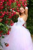 Novia sonriente en las rosas rojas Fotos de archivo