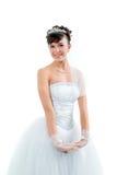 Novia vestida en la alineada de boda blanca de la elegancia Imagen de archivo libre de regalías