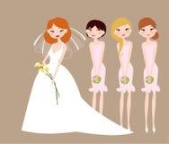 Novia y damas de honor ilustración del vector