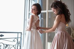 Novia y damas de honor hermosas en vestidos de lujo Fotografía de archivo