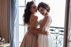 Novia y damas de honor hermosas en vestidos de lujo Imagen de archivo
