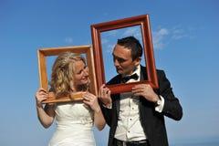 Novia y novio Imágenes de archivo libres de regalías
