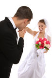 Novia y novio atractivos en la boda Fotos de archivo