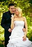 Novia y novio con blowball Fotos de archivo libres de regalías