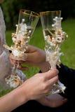 Novia y novio con champán Fotografía de archivo libre de regalías