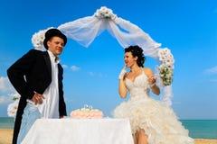Novia y novio con la torta de boda Fotografía de archivo libre de regalías