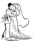 Novia y novio de la boda ilustración del vector