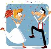 Novia y novio divertidos Dancing en su vector de la boda Foto de archivo
